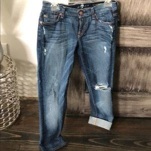 7 for all mankind distressed crop pants sz 26